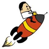 Businessman on a space rocket Stock Photos