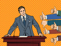 Businessman speaker business concept like dislike. Hands. Good or bad speech. The response from the audience Stock Images