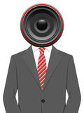 Businessman with speaker head Stock Photography