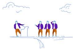 Businessman speaker staying tribune edge cliff doing advertisement business team brainstorming concept sketch doodle. Horizontal vector illustration royalty free illustration