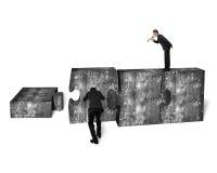 Businessman speaker yelling other pushing jigsaw puzzle concrete Stock Image