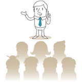 Businessman speaking in front of an audience. Vector illustration of a monochrome cartoon character: Businessman speaking in front of an audience Stock Photos