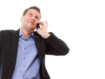 Businessman speaking on his mobile isolated Royalty Free Stock Photography