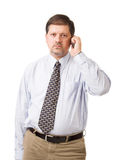 Businessman speaking on his mobile phone Royalty Free Stock Photos