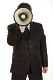 Businessman speaking into megaphone isolated Stock Photos