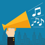 Businessman speaking. Through a megaphone with musical notes Stock Image