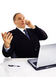 Businessman speaking by phone Stock Photos