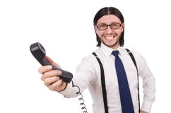 Businessman is speaking on  phone isolated on Royalty Free Stock Image