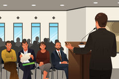 Businessman Speaking at a Podium in a Conference or Seminar. A vector illustration of businessman speaking at a podium in a conference or seminar stock illustration