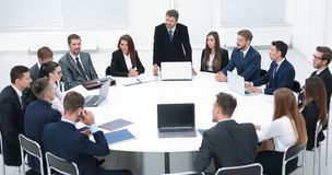 Businessman speaking on a proposal in the negotiations. royalty free stock image