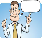 Businessman with speech bubble thumbs up Stock Image