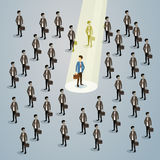 Businessman Spotlight Human Resource Recruitment Candidate, Business People Hire Concept 3d Isometric Royalty Free Stock Photo