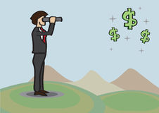 Businessman Spots Money Opportunities in Distance with Telescope Royalty Free Stock Image
