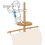 Businessman with spy glass on lookout of sailing b. Vector illustration of a monochrome cartoon character: Businessman with spy glass standing on a lookout of a Stock Photography