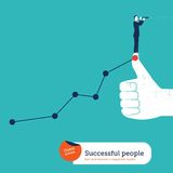 Businessman with spyglass on I like hand with ascending chart. Royalty Free Stock Image