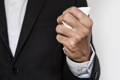 Businessman squeeze paper, hand close-up Royalty Free Stock Photos