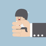 Businessman squeezed by boss hand. VECTOR, EPS10 stock illustration