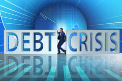 The businessman squeezed between crisis and debt Stock Photography