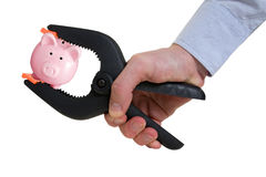 Businessman squeezing piggy bank in a clamp. Isolated on white Royalty Free Stock Photo
