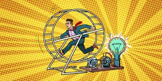 Businessman in a squirrel wheel. Pop art retro comic book vector illustration Stock Images