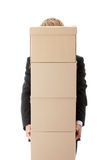 Businessman with stacked Boxes Royalty Free Stock Images