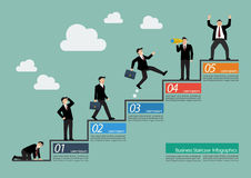 Businessman with staircase infographic. Steps to success Stock Photography