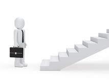 Businessman for stairs. 3d business man with briefcase for stairs Stock Image