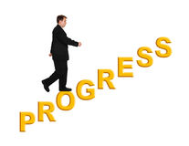 Businessman and stairs Progress. Isolated on white background royalty free stock photo