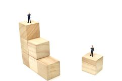 Businessman and Stairs of square blocks. Royalty Free Stock Photos