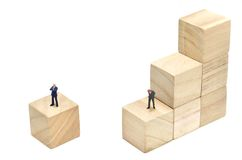 Businessman and Stairs of square blocks. Royalty Free Stock Images