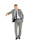 Businessman with stand Royalty Free Stock Photo