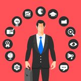 Businessman stand around icon foe business activity. Vector illu. Strate Stock Photos