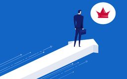 Businessman stand on arrow growth graph direction looks at the crown of success. Opportunities, future business trends. Vision concept. Cartoon Vector Royalty Free Stock Image