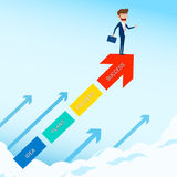 Businessman stand on arrow growth graph looking for success, opportunities, future business trends. Vision concept. Stock Images