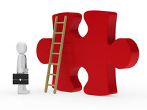 Businessman stand for a big puzzle. 3d businessman stand for a big puzzle Stock Photo