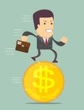 Businessman Stand On Coin. Stock Photo