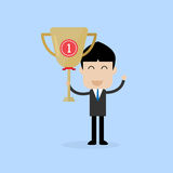 Businessman stand with first place trophy. Vector Stock Photo