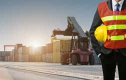 Businessman stand on front forklift loading Containers box. To Logistic cargo Import Export Stock Images
