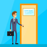Businessman Stand Hold Handle Open Door Royalty Free Stock Photos