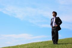 Businessman stand on the meadow Royalty Free Stock Photos