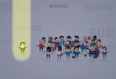 Businessman Stand Out From Crowd, Spotlight Hire Mix Race Human Resource Recruitment Candidate. People Group Business Team Vector Illustration Royalty Free Stock Photo