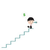 Businessman stand at stair and looking for money dollar sign with telescope or binoculars Royalty Free Stock Photos