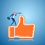 Businessman stand on thumb up sign using telescope looking for Positive feedback success, opportunities, future business trends. Successful business strategy royalty free illustration