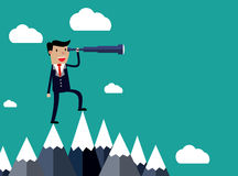 Businessman stand on top of mountain Royalty Free Stock Photos