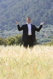 Businessman standing with arms outstretched in rural field Royalty Free Stock Photos