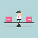 Businessman standing balance life with family and work Stock Image