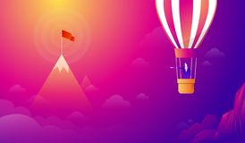 Businessman standing on Balloon looking with the binocular go to red flag on sky between mountain. go to business vector illustration