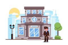Businessman standing bank building facade exterior stock illustration