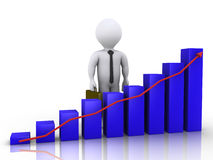 Businessman standing behind chart Stock Image
