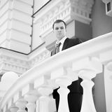 Businessman standing behind columns Royalty Free Stock Photo
